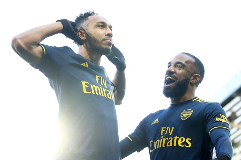 Pierre-Emerick Aubameyang of Arsenal celebrates scoring his sides first goal. (Credit: Getty Images)