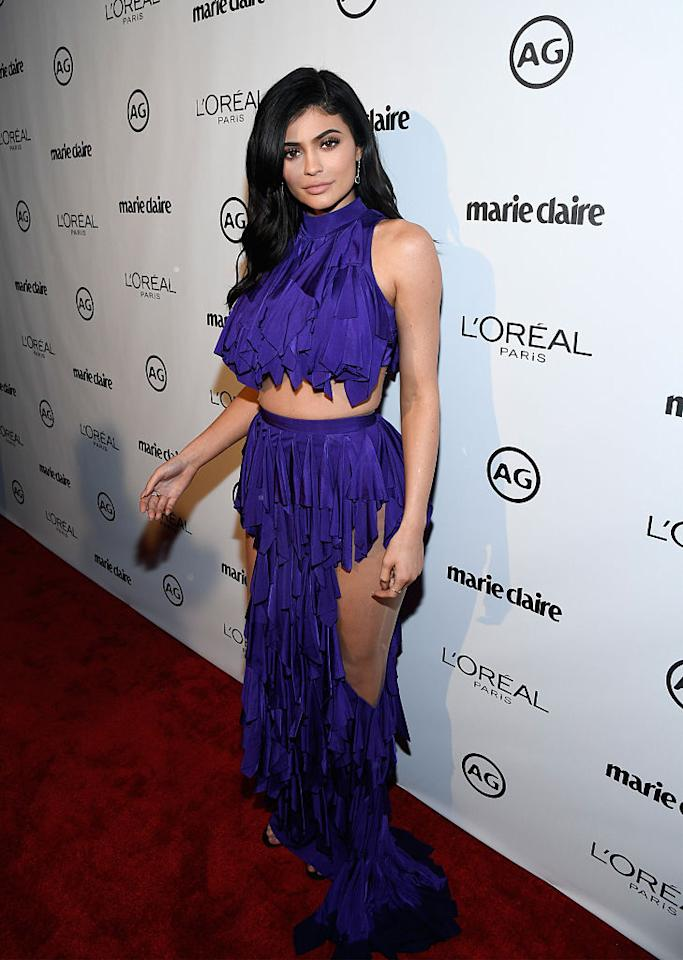 "<p><b>When: Jan. 10, 2016</b><br />Not as crazy as some of the other looks that made this list — but Kylie's leg-revealing flamenco-inspired crop top and skirt combination had fans <a rel=""nofollow"" href=""http://www.look.co.uk/fashion/kylie-jenner-makers-awards-571273"">divided</a>. <i>(Photo: Getty Images)</i> </p>"