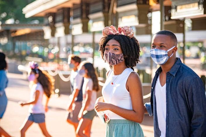 When Walt Disney World Resort theme parks in Lake Buena Vista, Fla., begin their phased reopening July 11, 2020, all guests 2 years of age and older will be required to wear an appropriate face covering at all times, except when eating and drinking while dining. (Matt Stroshane, photographer)