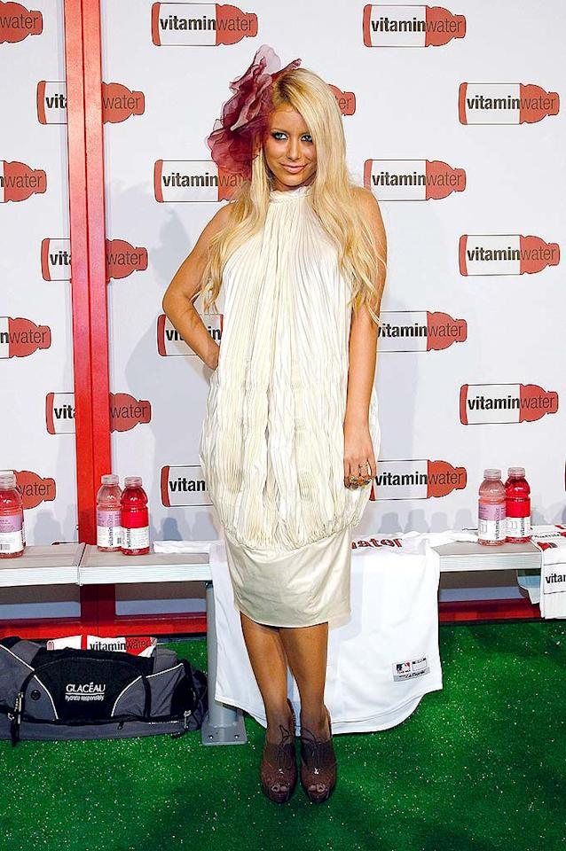 """Danity Kane's Aubrey O'Day dons a ridiculous hair piece at a Vitamin Water-sponsored bash celebrating MLB's All-Star Game festivities at the Hudson Terrace in NYC. Mark Von Holden/<a href=""""http://www.wireimage.com"""" target=""""new"""">WireImage.com</a> - July 14, 2008"""