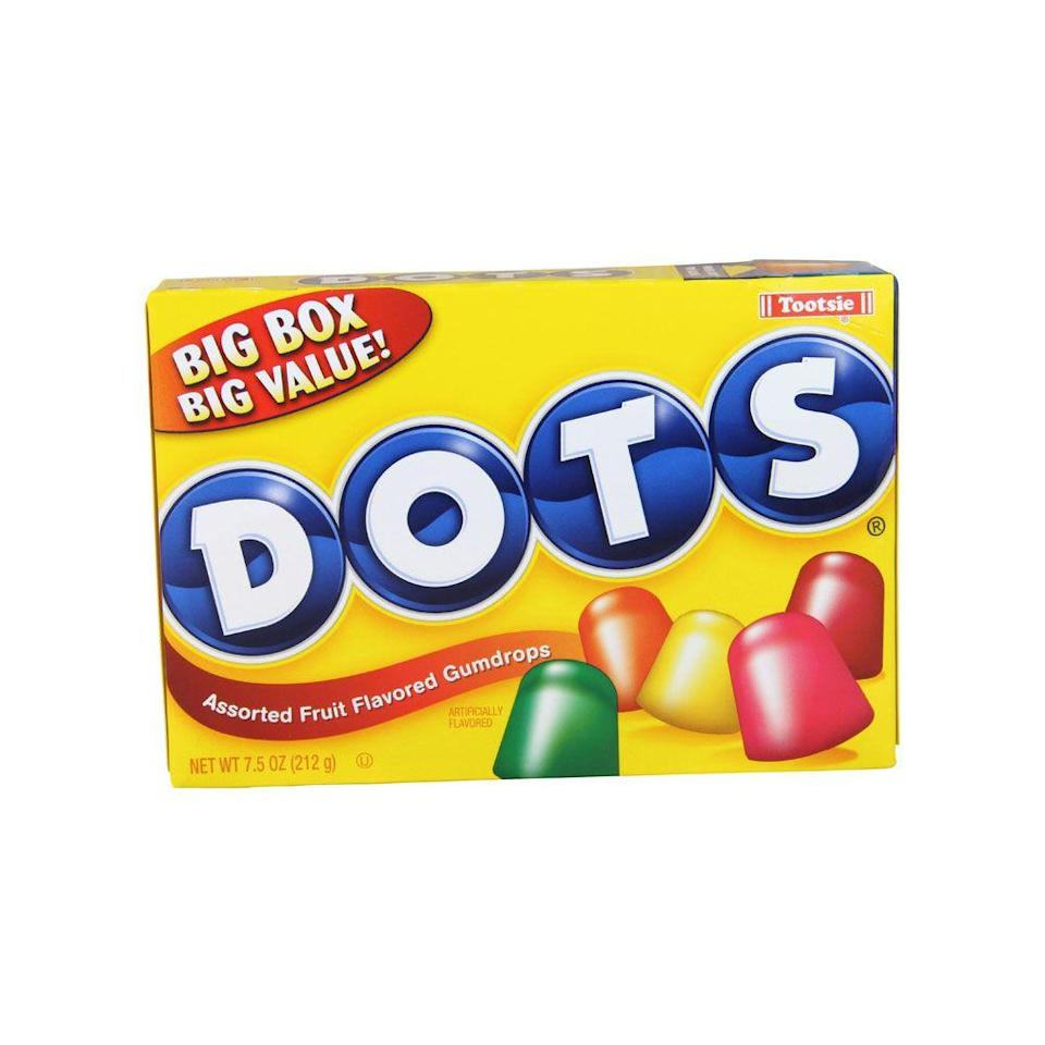 <p>Ahh… You remember those gummy little bright pops of color that seemed to become most useful for decorating gingerbread houses as the years passed. Well, Dots were the treat to eat straight out of the box in 1950.</p>