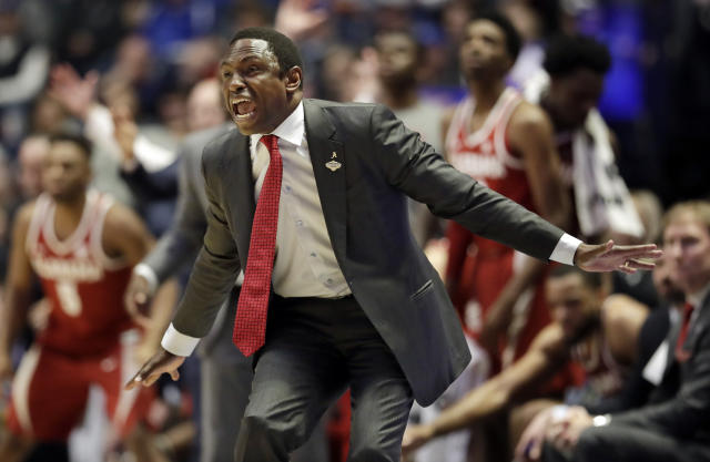Alabama head coach Avery Johnson yells to his players in the second half of an NCAA college basketball game against Mississippi at the Southeastern Conference tournament Thursday, March 14, 2019, in Nashville, Tenn. Alabama won 62-57. (AP Photo/Mark Humphrey)