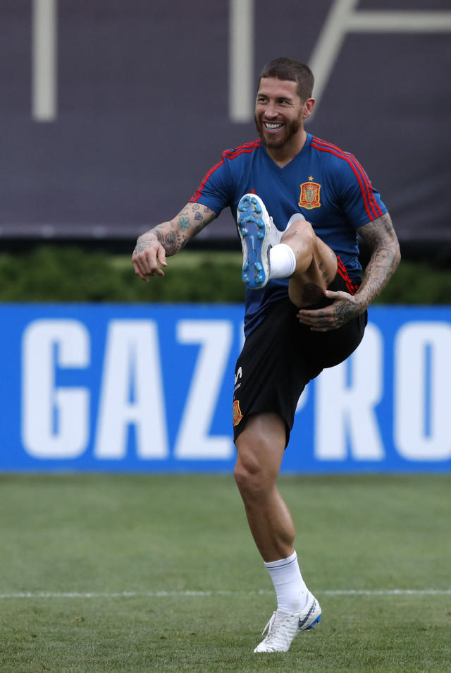 Spain's Sergio Ramos takes part during a training session of Spain at the 2018 soccer World Cup in Krasnodar, Russia, Sunday, June 17, 2018. (AP Photo/Manu Fernandez)
