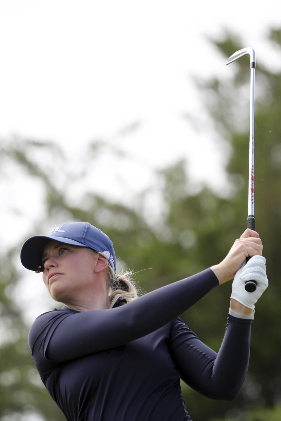 Matilda Castren hits off the third tee during the third round of the LPGA Volunteers of America Classic golf tournament in The Colony, Texas, Saturday, July 3, 2021. (AP Photo/Richard W. Rodriguez)