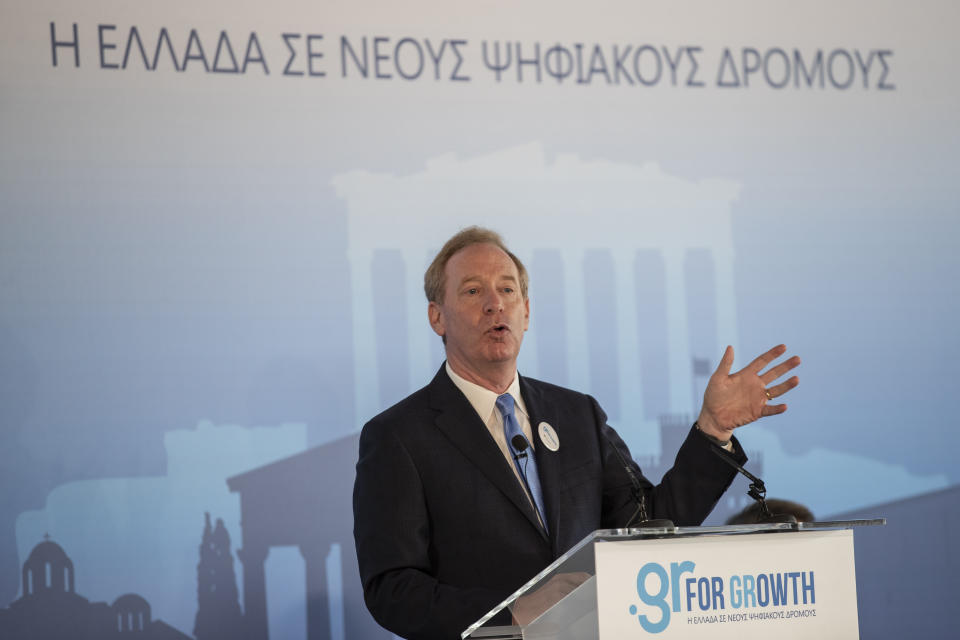 Microsoft President Brad Smith speaks during a ceremony held in the Acropolis Museum, central Athens, on Monday, Oct. 5, 2020. Microsoft has announced plans to build three data centers in greater Athens, providing a badly needed investment of up to $1 billion to the Greek economy which has been hammered by the pandemic. (AP Photo/Petros Giannakouris)