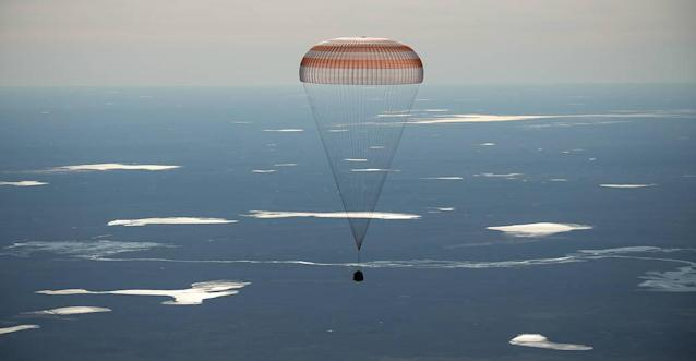 <p>The Soyuz MS-02 spacecraft is seen as it lands with Expedition 50 Commander Shane Kimbrough of NASA and Flight Engineers Sergey Ryzhikov and Andrey Borisenko of Roscosmos near the town of Zhezkazgan, Kazakhstan on Monday, April 10, 2017 (Kazakh time). Kimbrough, Ryzhikov, and Borisenko are returning after 173 days in space where they served as members of the Expedition 49 and 50 crews onboard the International Space Station. (Photo: NASA/Bill Ingalls) </p>