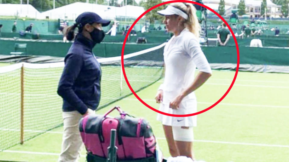 Indy de Vroome, pictured here being told by the tournament supervisor that her hat wasn't white enough.