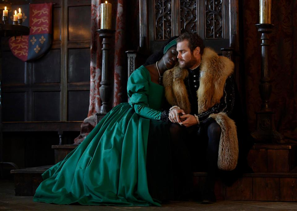 Turner-Smith with Mark Stanley as Henry VIII (PARISA TAGHIZADEH)