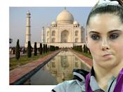 McKayla Maroney is not impressed with the Taj Mahal.