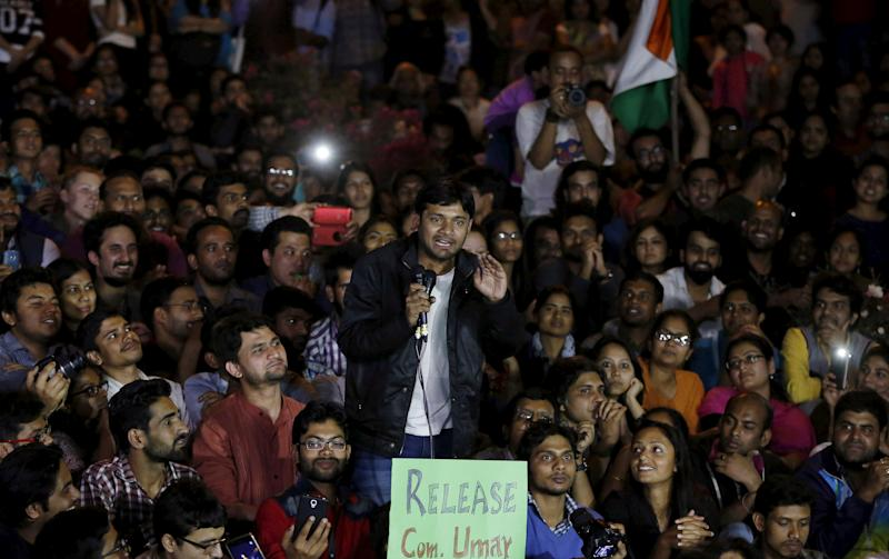 FILE PHOTO: Kanhaiya Kumar, a Jawaharlal Nehru University student union leader, gestures as he addresses a meet inside JNU campus in New Delhi