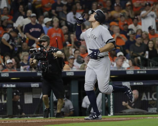 Aaron Judge of the New York Yankees reacts after hitting a home run, something he did quite a lot in 2017. (AP Photo)
