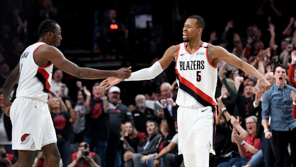 PORTLAND, OREGON - MAY 03: Rodney Hood #5 of the Portland Trail Blazers hits what turned out to be the game winning shot during the fourth overtime of game three of the Western Conference Semifinals against the Denver Nuggets at Moda Center on May 03, 2019 in Portland, Oregon. The Blazers won 140-137 in 4 overtimes. NOTE TO USER: User expressly acknowledges and agrees that, by downloading and or using this photograph, User is consenting to the terms and conditions of the Getty Images License Agreement. (Photo by Steve Dykes/Getty Images)   (Photo by Steve Dykes/Getty Images)