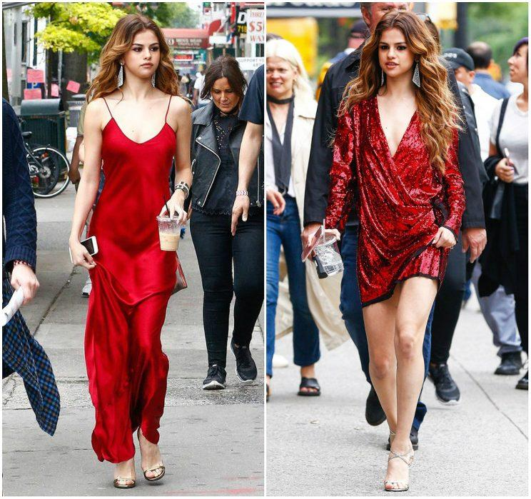 4b80f19e5c7 Selena turned heads in June 2016 in a figure-hugging silk slip dress by  Nili Lotan (photo left) and a plunging