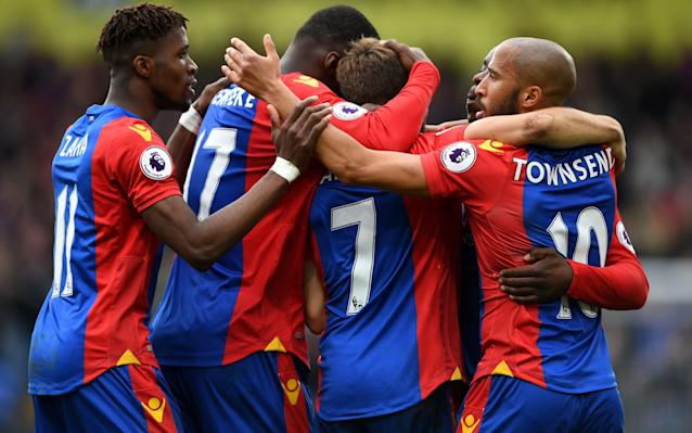 <span>Palace celebrate Deeney's own goal</span>