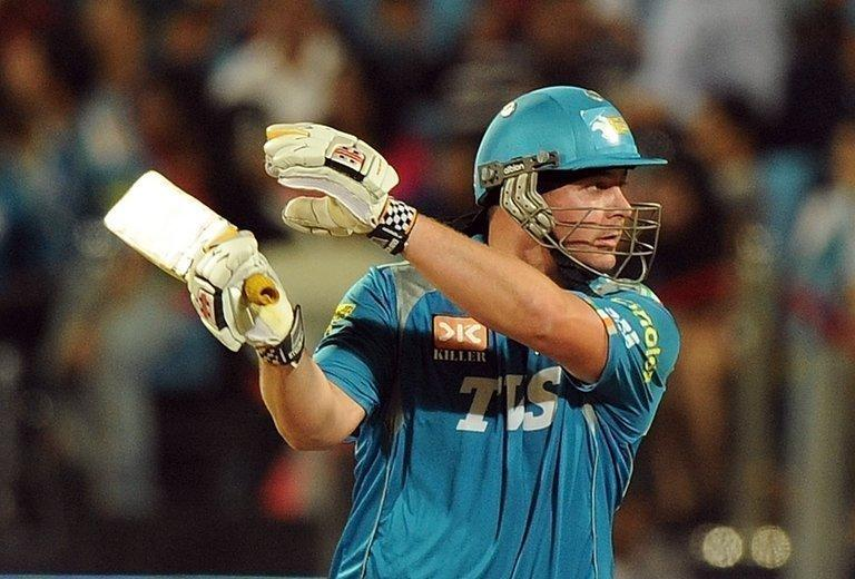 New Zealand cricketer Jesse Ryder plays a shot during an IPL game in Pune, on May 19, 2012. Ryder was showing signs of improvement on Friday and gave family the thumbs-up as police charged two men with assaulting the gifted batsman in a savage beating a day earlier