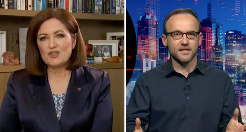 Victorian Liberal Senator Sarah Henderson, left, and Greens Leader Adam Bandt, right, clashed on Monday night. Source: ABC