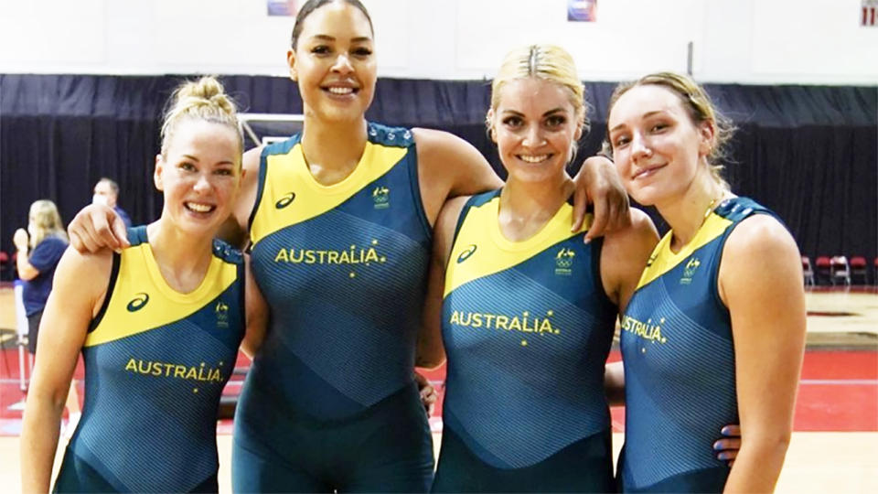 Liz Cambage, pictured here with Opals teammates.