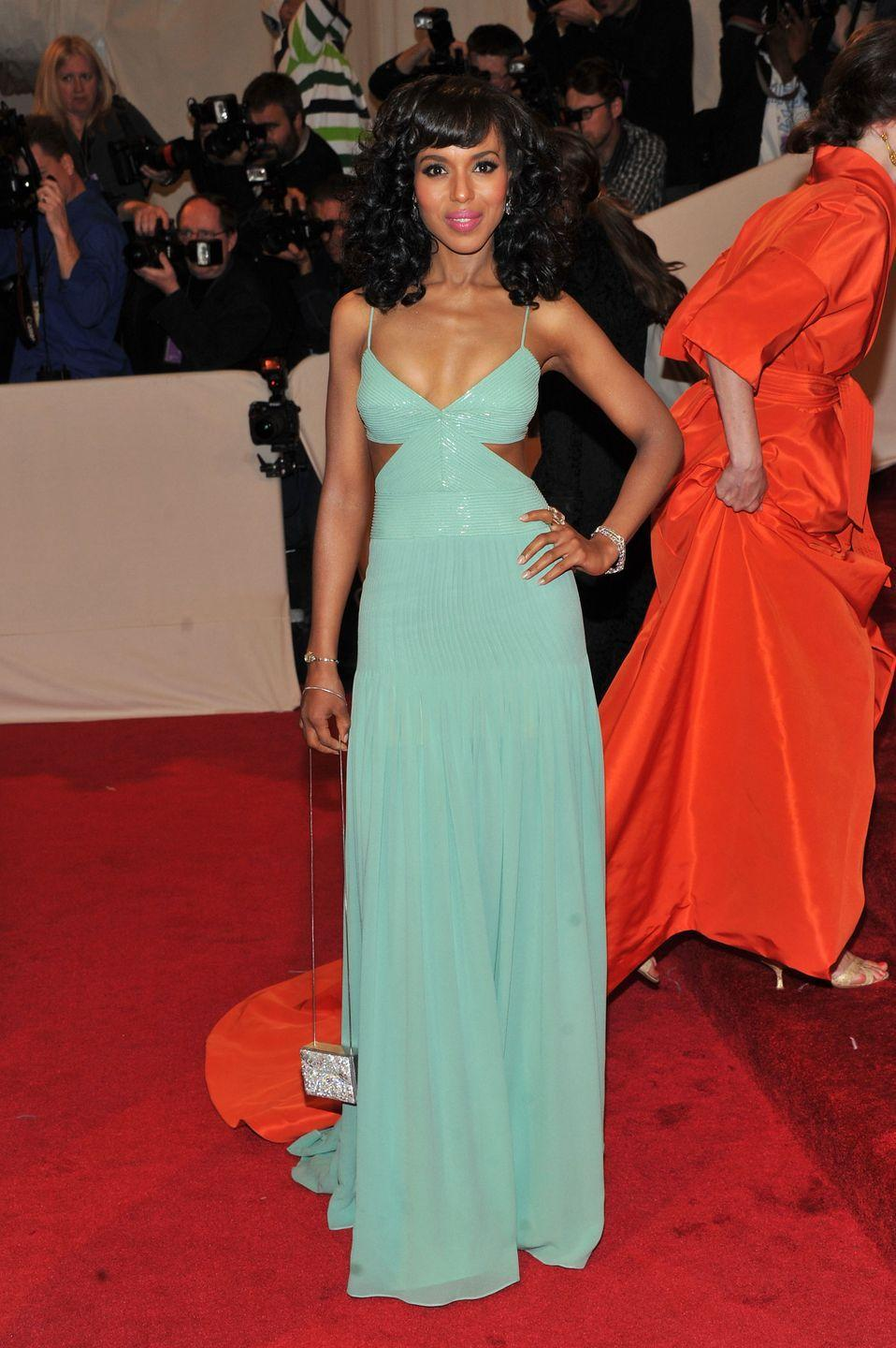 <p>For the 2011 Met Gala, Kerry Washington wore a turquoise dress with side cutouts reminiscent of Jasmine. </p>