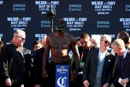 Boxing - Deontay Wilder & Tyson Fury Weigh-In - Los Angeles Convention Center, Los Angeles, United States - November 30, 2018 Deontay Wilder during the weigh in Action Images via Reuters/Andrew Couldridge