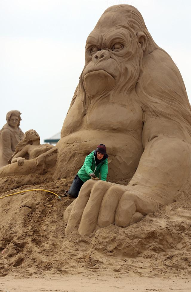 WESTON-SUPER-MARE, ENGLAND - MARCH 26: Sand sculptor Helena Bangert (C), from Holland works on a sand sculpture of King Kong as pieces are prepared as part of this year's Hollywood themed annual Weston-super-Mare Sand Sculpture festival on March 26, 2013 in Weston-Super-Mare, England. Due to open on Good Friday, currently twenty award winning sand sculptors from across the globe are working to create sand sculptures including Harry Potter, Marilyn Monroe and characters from the Star Wars films as part of the town's very own movie themed festival on the beach. (Photo by Matt Cardy/Getty Images)