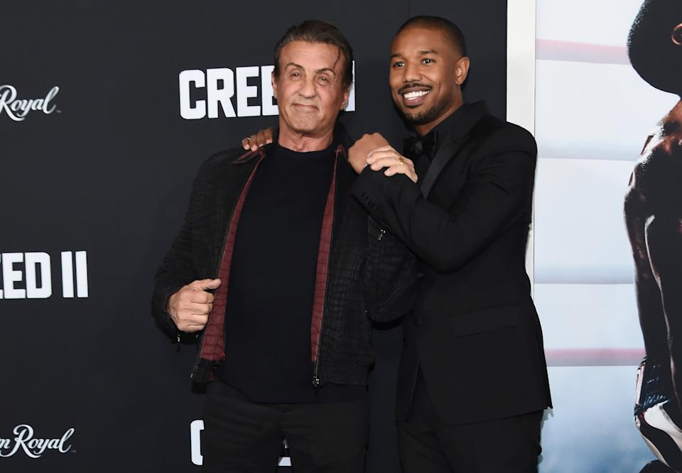 NEW YORK, NEW YORK - NOVEMBER 14: Sylvester Stallone and Michael B. Jordan attend the 'Creed II' New York Premiere at AMC Loews Lincoln Square on November 14, 2018 in New York City. (Photo by Daniel Zuchnik/WireImage)