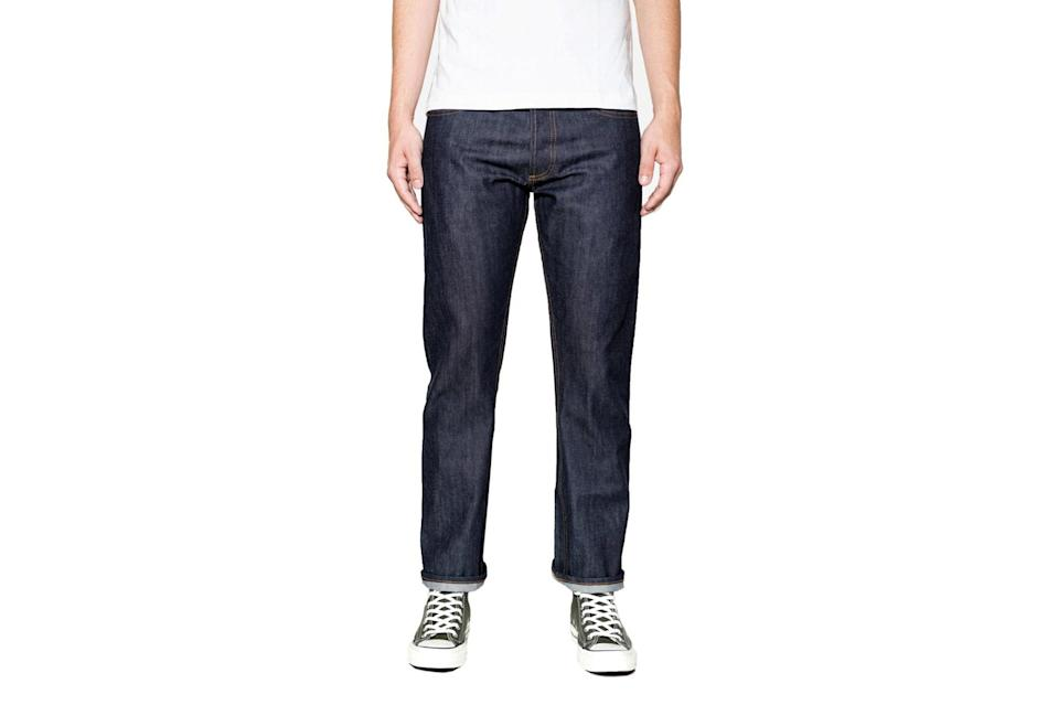 """Raw selvedge jeans in a slim-straight cut are something every man should buy—and promptly make his own. You'll have them for years so choose wisely. 3sixteen's signature denim checks every box.<br> <br> <em>3sixteen SL-100x straight leg jeans</em> $215, 3sixteen. <a href=""""https://www.3sixteen.com/collections/bottoms/products/sl100x-straight-raw-indigo-selvedge-denim"""" rel=""""nofollow noopener"""" target=""""_blank"""" data-ylk=""""slk:Get it now!"""" class=""""link rapid-noclick-resp"""">Get it now!</a>"""