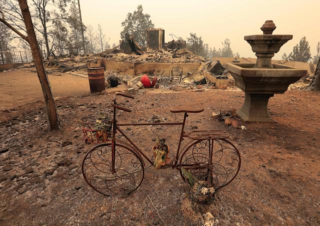 The debris of a burned home is seen after the Carr Fire west of Redding, California, U.S. REUTERS/Bob Strong