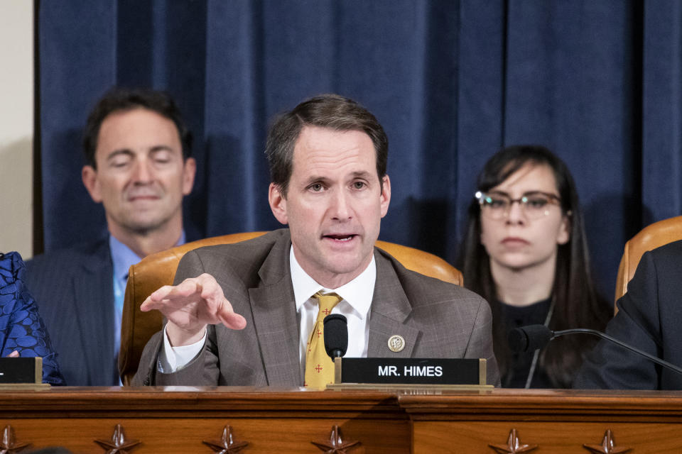 WASHINGTON, DC - NOVEMBER 20: Jim Himes (D-CT) questions Gordon Sondland,  US Ambassador to the European Union before the House Intelligence Committee in the Longworth House Office Building on Capitol Hill November 20, 2019 in Washington, DC. The committee heard testimony during the fourth day of open hearings in the impeachment inquiry against U.S. President Donald Trump, whom House Democrats say held back U.S. military aid for Ukraine while demanding it investigate his political rivals and the unfounded conspiracy theory that Ukrainians, not Russians, were behind the 2016 computer hacking of the Democratic National Committee.  (Photo by Samuel Corum-Pool/Getty Images)