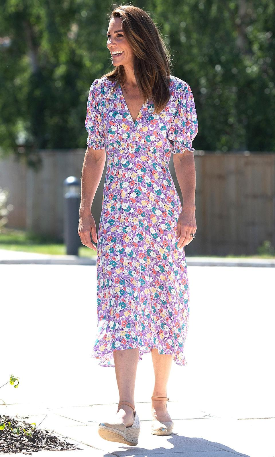 """<p>Kate Middleton knows there is no such thing as having too many floral sundresses in your closet — it's a summer staple. </p> <p><strong>Buy It! Faithfull the Brand's Marie-Louise Midi Dress, <a href=""""https://faithfullthebrand.com/products/marie-louise-midi-dress-nefeli-floral?variant=31457194803264"""" rel=""""sponsored noopener"""" target=""""_blank"""" data-ylk=""""slk:$189"""" class=""""link rapid-noclick-resp"""">$189</a></strong></p> <p><strong>Get the Look!<br>Banana Republic Ruffle Midi Dress, <a href=""""https://bananarepublicfactory.gapfactory.com/browse/product.do?pid=666532001#pdp-page-content"""" rel=""""sponsored noopener"""" target=""""_blank"""" data-ylk=""""slk:$110"""" class=""""link rapid-noclick-resp"""">$110</a><br>Lulu's Free Spirits Dress, <a href=""""https://www.pntra.com/t/8-11575-131940-157915?sid=PEO11RoyalsInspiredGiftsYouNeedThisSummerpetitsRoyGal12744024202106I&url=https%3A%2F%2Fwww.lulus.com%2Fproducts%2Ffree-spirits-white-floral-print-short-sleeve-tiered-midi-dress%2F1454056.html"""" rel=""""sponsored noopener"""" target=""""_blank"""" data-ylk=""""slk:$88"""" class=""""link rapid-noclick-resp"""">$88</a><br>Old Navy Smocked Waist Floral Print Dress, <a href=""""https://gap.igs4ds.net/c/249354/383278/5555?subId1=PEO11RoyalsInspiredGiftsYouNeedThisSummerpetitsRoyGal12744024202106I&u=https%3A%2F%2Foldnavy.gap.com%2Fbrowse%2Fproduct.do%3Fpid%3D690739012%23pdp-page-content"""" rel=""""sponsored noopener"""" target=""""_blank"""" data-ylk=""""slk:$45"""" class=""""link rapid-noclick-resp"""">$45</a><br></strong></p>"""