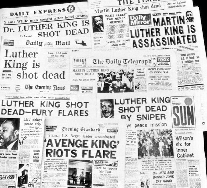 <p>This is how the morning newspapers in London headlined the assassination of Dr. Martin Luther King, April 5, 1968. (AP Photo) </p>