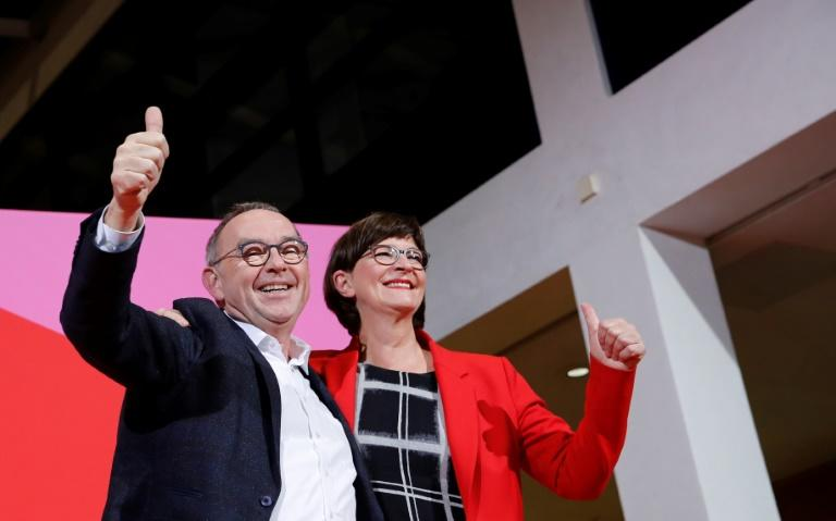 Saskia Esken (R) and Norbert Walter-Borjans were elected co-leaders of Germany's Social Democratic Party