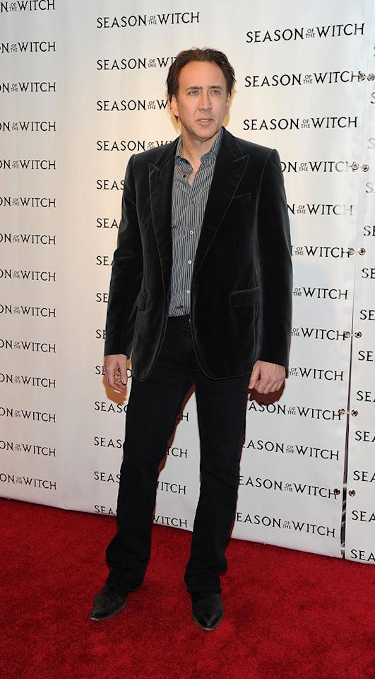 "<a href=""http://movies.yahoo.com/movie/contributor/1800018581"">Nicolas Cage</a> at the New York City premiere of <a href=""http://movies.yahoo.com/movie/1810055815/info"">Season of the Witch</a> on January 4, 2010."