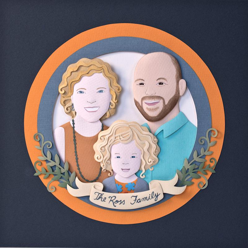 Paper art. Paper cut custom portrait. Personalised family portrait