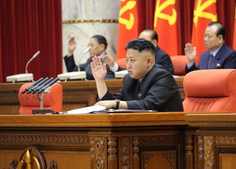 Image provided by the Korean Central News Agency on March 31, 2013 shows North Korean leader Kim Jong-Un attending a meeting of the Central Committee of the Workers' Party of Korea in Pyongyang. North Korea said Thursday it had authorised plans for nuclear strikes on US targets