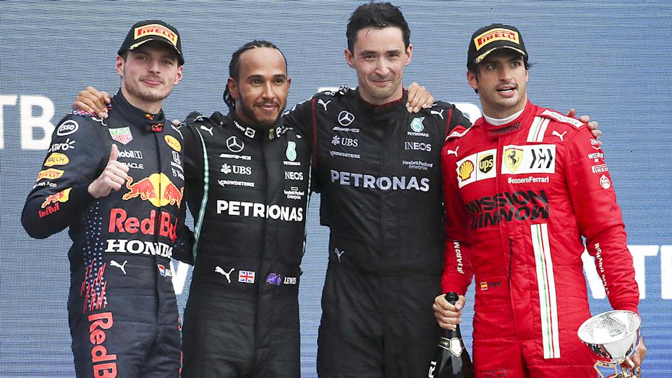 Max Verstappen, Lewis Hamilton and Carlos Sainz, pictured here on the podium after the Russian Grand Prix.