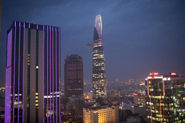 Bitexco Financial Tower and other commercial and residential buildings in HCMC