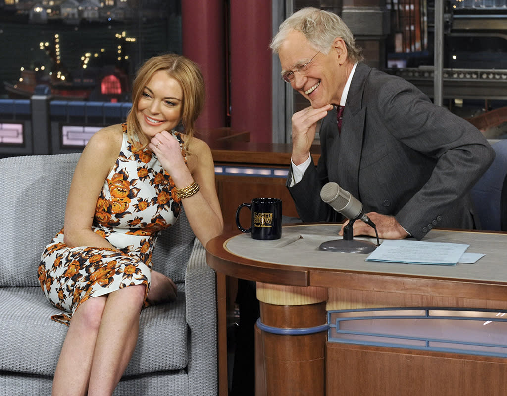 "In her first interview anywhere since November 2012, actress Linsday Lohan talks about her upcoming trip to rehab, her guest star roles in the series ""Anger Management"" and film ""Scary Movie 5"" and more when she visits the LATE SHOW with DAVID LETTERMAN, Tuesday, April 9 2013 (11:35 PM-12:37 AM, ET/PT) on the CBS Television Network. Photo: Jeffrey R. Staab/CBS ©2013 CBS Broadcasting Inc. All Rights Reserved"