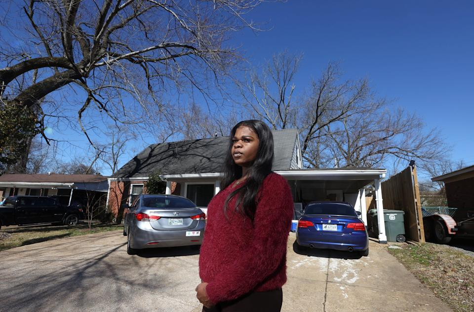 Kayla Gore, co-founder of My Sistah's House, which helps provide housing for Black and transgender people of color in Memphis, Tenn. Gore is photographed outside of her Frayser neighborhood home Friday, Feb. 5, 2021, a place where has housed at least 60 trans women in the last 3 years.