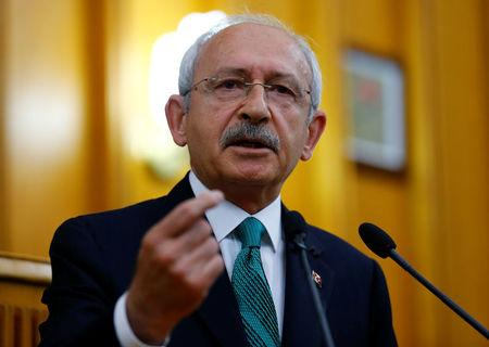 Turkey's main opposition, the Republican People's Party (CHP) leader Kemal Kilicdaroglu, addresses members of parliament from his party during a meeting at the Turkish parliament in Ankara, Turkey April 18, 2017. REUTERS/Umit Bektas