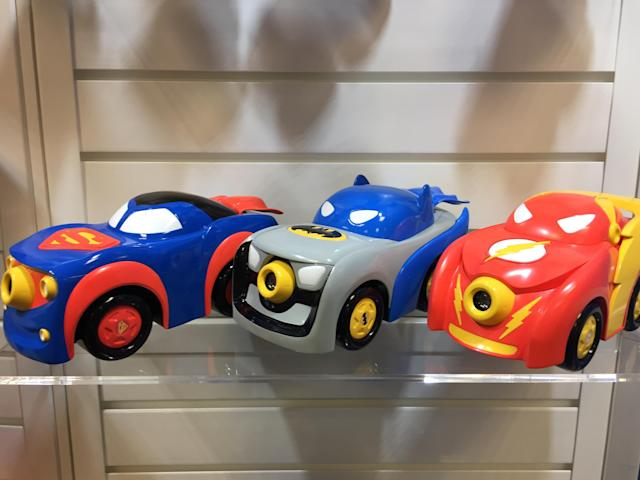 <p>These kid-friendly cars from Funrise can shine the symbols of their respective DC heroes in brightest daylight and darkest night. (Photo: Ethan Alter) </p>