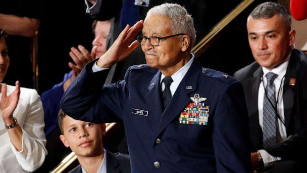 PHOTO: Tuskegee airman Charles McGee, 100, salutes as his great grandson Iain Lanphier looks as President Donald Trump delivers his State of the Union address to a joint session of Congress on Capitol Hill in Washington, Tuesday, Feb. 4, 2020. (Patrick Semansky/AP Photo)