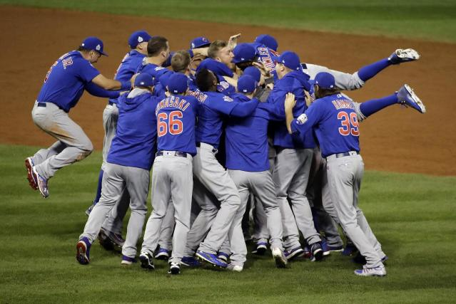 The Chicago Cubs celebrate after Game 7 of the 2016 World Series. (AP)