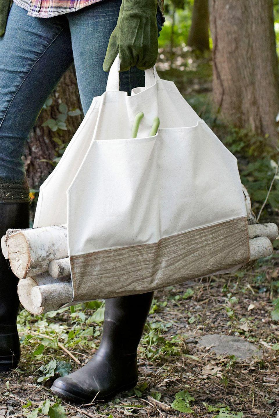 """<p>Give Dad a helping hand with this easy-to-make piece.</p><p><strong>Step 1:</strong> Turn a canvas bag inside out, then use a seam ripper to undo the gusseted corners and cut the bag so that it lays flat.</p><p><strong>Step 2:</strong> Lay the bag out and on the interior, use a pencil and a ruler to draw an 8 1/2-inch diagonal line across each of the bag's corners. Cut the bag along the lines, and discard corner pieces. Next, fold each cut edge over by 1/4 inch and topstitch in place.</p><p><strong>Step 3:</strong> Cut a piece of <a href=""""https://www.amazon.com/Freckled-Sage-Oilcloth-Tablecloth-Walnut/dp/B01FY7DW2G?tag=syn-yahoo-20&ascsubtag=%5Bartid%7C10050.g.1171%5Bsrc%7Cyahoo-us"""" rel=""""nofollow noopener"""" target=""""_blank"""" data-ylk=""""slk:faux bois oilcloth"""" class=""""link rapid-noclick-resp"""">faux bois oilcloth</a> that measures 18 1/4''L x 13 1/2""""W. Flip the bag over and use bright-orange thread to stitch the panel along the edges.</p><p><strong>Step 4:</strong> Reinforce the handles by folding each strap back on itself, and pin the strap in place, then stitch it together. Repeat for the second strap.</p><p><a class=""""link rapid-noclick-resp"""" href=""""https://www.amazon.com/Rhode-Island-Novelty-JATOTLG-12-75-Inch/dp/B007N2R3EO/?tag=syn-yahoo-20&ascsubtag=%5Bartid%7C10050.g.1171%5Bsrc%7Cyahoo-us"""" rel=""""nofollow noopener"""" target=""""_blank"""" data-ylk=""""slk:SHOP CANVAS BAGS"""">SHOP CANVAS BAGS</a></p>"""