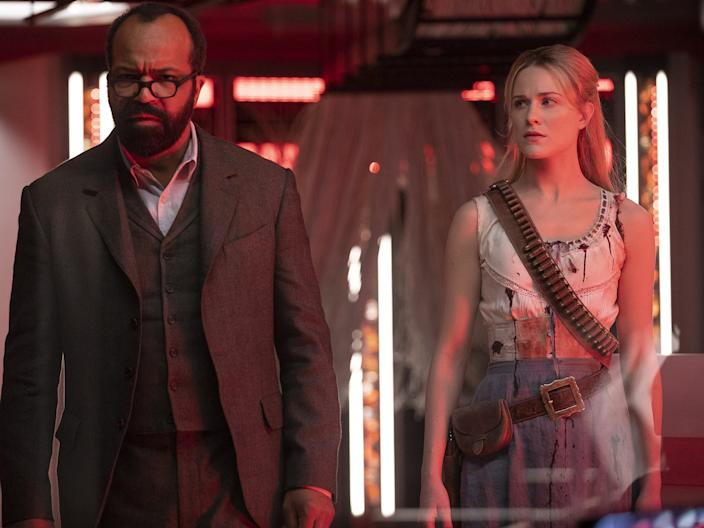 """Jeffrey Wright and Wood as Bernard and Dolores in season two of """"Westworld."""""""