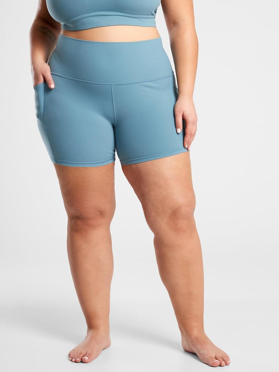 <p>If you're looking for your new favorite bike shorts, go with these <span>Athleta Salutation Stash Pocket II Shorts</span> ($59).</p>