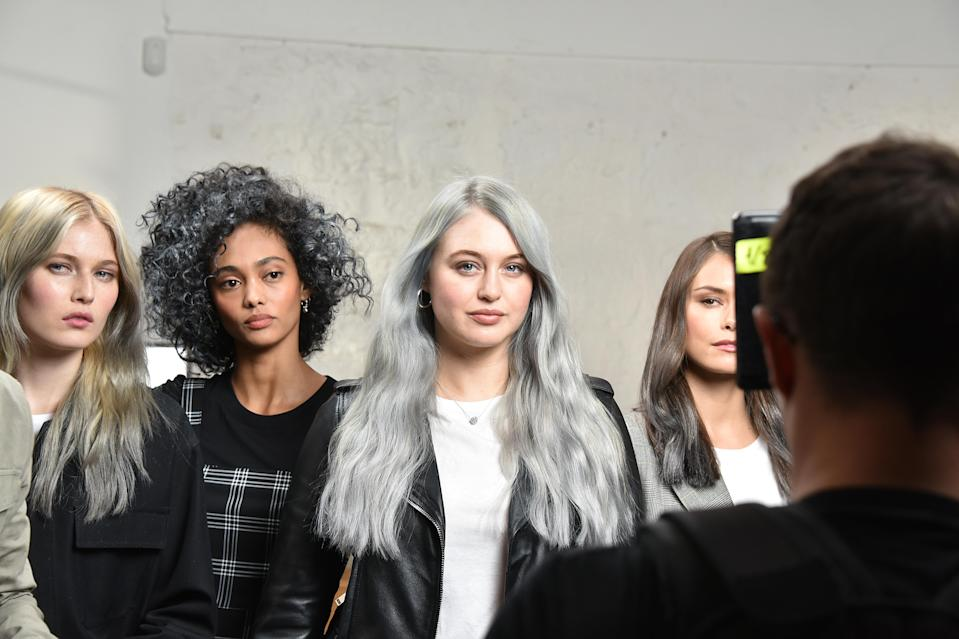 Behind the scenes at L'Oréal Paris's 2019 hair color of the year shoot with model Iskra Lawrence. (Photo: Courtesy of Getty Images)