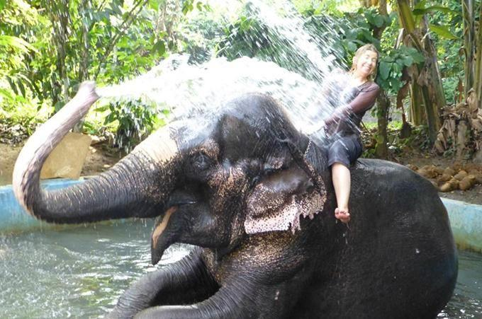 Angela Saurine gets a bath from an elephant in Kerala, India. Photo Supplied