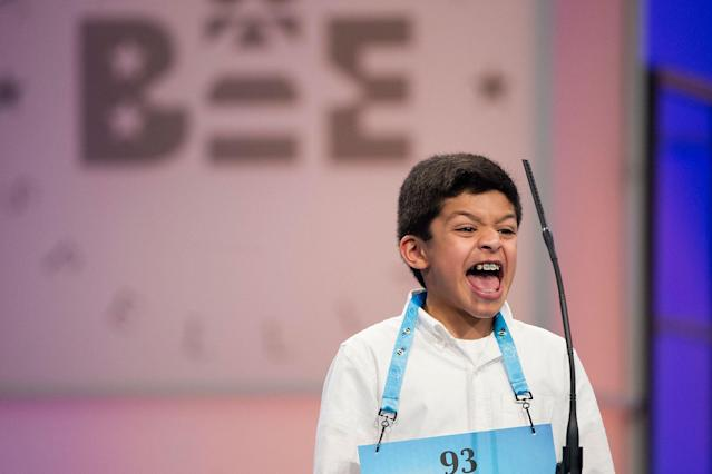 <p>Arin Bhandari, 12 of West Haven, Conn., correctly spells his word during the 90th Scripps National Spelling Bee in Oxon Hill, Md., Wednesday, May 31, 2017. (AP Photo/Cliff Owen) </p>