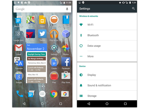 Android Lollipop home screen and settings screen