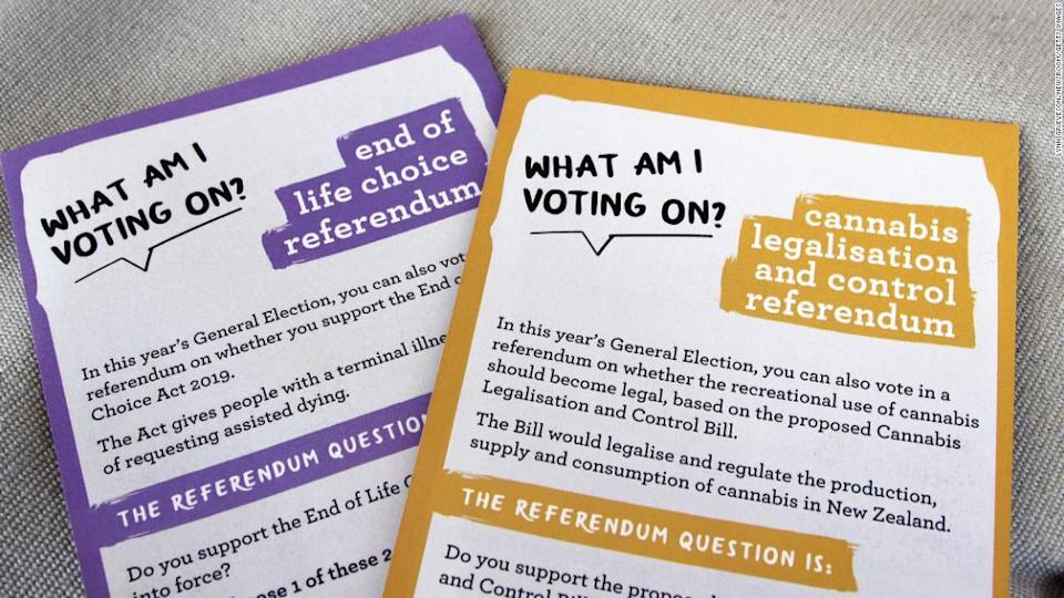 "<p>New Zealand Electoral Commission information materials on the End of Life Choice (euthanasia) and Cannabis Legalisation and Control referendums.</p><div class=""cnn--image__credit""><em><small>Credit: Lynn Grieveson/Newsroom/Getty Images / Getty Images</small></em></div>"
